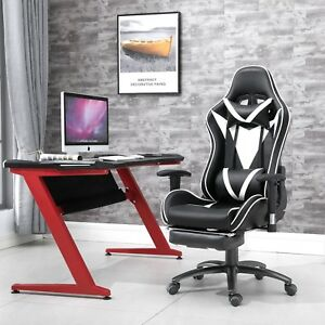 Samincom Ergonomic Racing Chair With Soft Headrest Lumbar Cushion Footrest