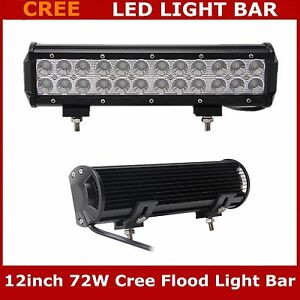 2x 72w 12 Inch Flood Lamp Led Work Light Bar Driving Offroad Suv Boat Ford Jeep