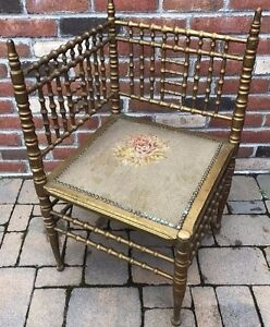 Antique Victorian Heywood Wakefield Faux Bamboo Corner Chair Petit Point Seat