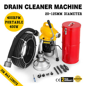 100ft 3 4 Sewer Snake Drain Auger Cleaner Machine Powerful Toilet Electric