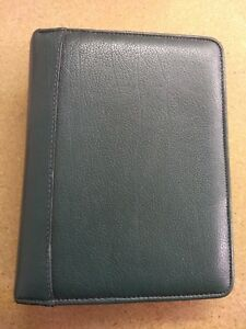 Franklin Quest Covey Green Leather Trim Compact Planner 6 ring