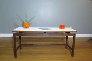 Jens Risom Design Console Table Floating Walnut With White Top Mcm