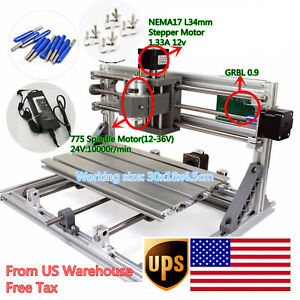 Us Ship 3 Axis 3018 Desktop Mini Diy Cnc Router Engraving Milling Laser Machine