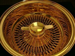 13x7 Reverse Deep Dish Wire Spoke Wheels Lowrider All Gold Usa 24k Set Of 4