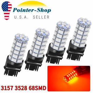 4x 3157 3156 68smd Red 3528 Chip High Power Parking Turn Signal Led Light Bulbs