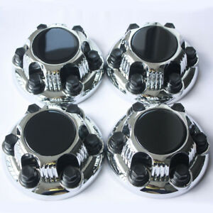 Gmc Chevy Silverado Sierra 6 Lug Wheel Hub Center Caps For 16 17 Wheels Black