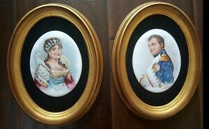 Pair Of Antique Hand Painted Portrait Porcelain Plaques Napoleon