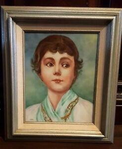 Vintage Large Hand Painted Portrait Porcelain Plaque Framed