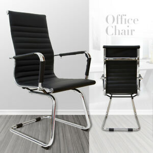 Office Chair Ribbed Pu Leather Seat High Back Sled Base Executive Computer Desk
