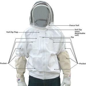 Medium Jawadis Adult White Pest Control Bee Keepers Jacket Removable Fence Veil