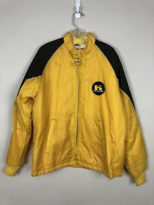 Vtg Keystone Yellow Racing Jacket Nylon Dodge Plymouth Mopar Chevy Ford Sz Large