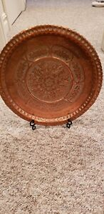 Antique Turkish Ottoman Tin Copper Plate Tray Hand Made Flower Art Pattern 16 5