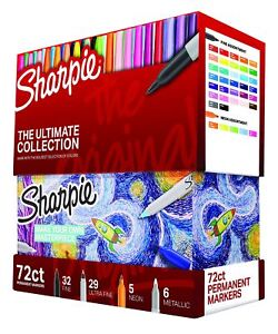 Sharpie Permanent Coloring Markers Set Pack Of 72 Fine And Ultra fine Tips Lot