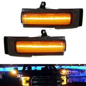Smoked Lens Full Amber Led Side Mirror Turn Signal Light Assembly For 15 17 F150