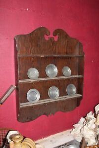 Antique English Wooden Shelf Wall Cupboard Hutch Cabinet Hanging Pewter Plates