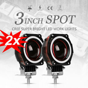 2x 3inch Led Work Light Bar Spot Pods Driving Fog Off Road 4wd Truck Driving 12v