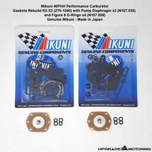 Mikuni 40phh Carb Gaskets Rebuild Kit X2 W pump Diaphragm fig 8 Oring 510 Solex