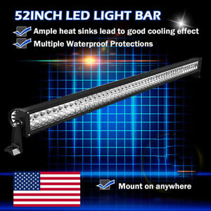 52 Inch Straight Led Light Bar Pure White Driving Lamp Offroad Pk Tri Row 54