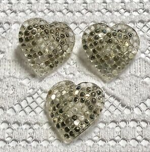 3 Heart Shaped Glass Buttons With Berry Top Mercury Painted Back