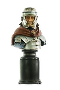 Marble Bust Of A Roman Centurion Painted On A Large Base Sculpture Gift Art