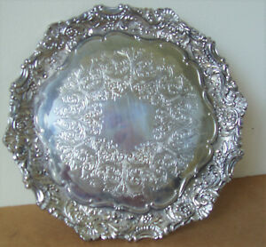 Silver Co Silver Plated Baroque 3 Footed Round Tray By Fb Rogers