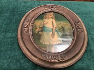 15 Tall Antique Girl In Wood Cover In Plaster Oval Frame With Glass
