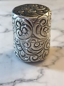 Antique Sterling Silver S Cottle Co Thimble Holder Box Repousse Tube