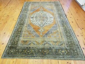 Exquisite Antique Cr1940 1950 S Wool Pile Muted Dye Oushak Rug 6 X9 11