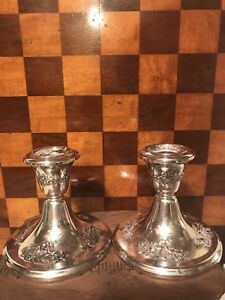 Gorham Sterling Silver Weighted Pair Of Candle Holders Floral Design 889