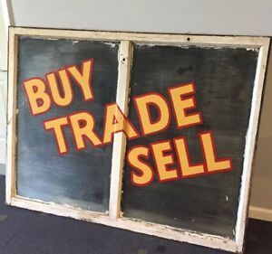 Vintage Store Front Window Corrugated Glass Buy Sell Trade Farmhouse Decor
