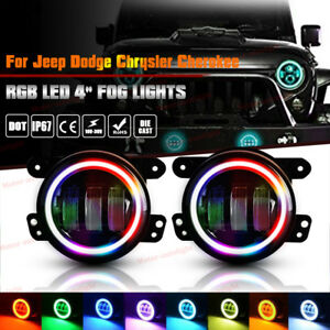 2 X 4inch Led Fog Light Rgb White Halo Ring For Dodge Jeep 2007 08 Ford F 150