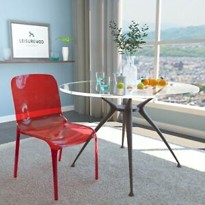 Leisuremod Murray Mid century Molded Stackable Lucite Dining Side Chair In Red