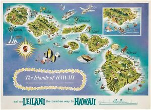Original 1960s Hawaiian Islands Pictorial Map