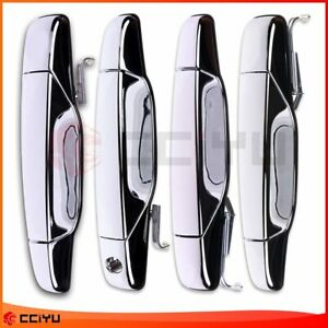 Chrome Door Handle For Chevy Tahoe Gmc Yukon Sierra Denali 07 13 Front Rear 4pcs