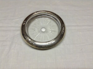 Frank M Whiting Co Sterling Silver And Glass Ashtray Coaster Candy Dish