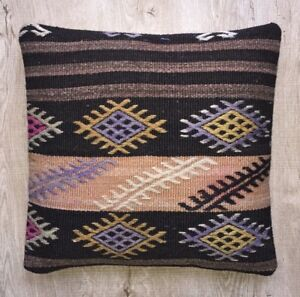 Decorative Handmade Pillow Cover Cushion From Handwoven Vintage Kilim Rug 16x16