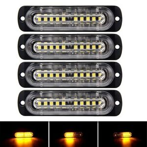4pcs Amber Amber 10 Led Strobe Light Bar Emergency Beacon Warning Hazard Flash