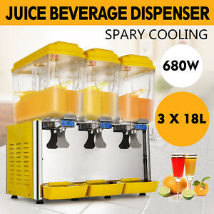 54l Juice Beverage Dispenser Bubbler 3 Tanks Cold Drink Bubbler Industry Supply