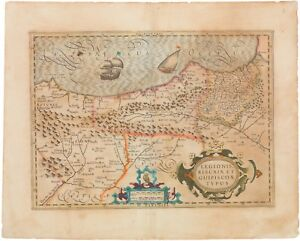 Old Color 1630 Mercator Hondius Map Of The Basque Region