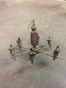 Vintage Wood Brass Globed Chandelier 6 Lights