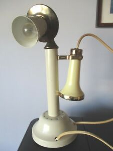 Vintage Mid Century Beige Cream Gold Brass Tole Telephone Desk Table Lamp