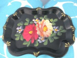 Vintage Hand Painted Yellow Red Flowers Dresser Perfume Jewelry Tole Tray