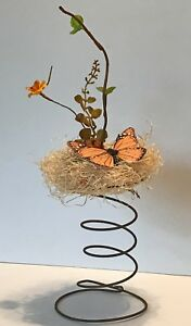 Antique Rusty Patina Bed Spring W Monarch Butterfly Straw Nest Autumn Flowers