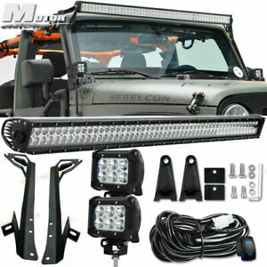 97 06 Jeep Tj Wrangler 50 inch Led Light Bar wiring Kit windshield Mount Bracket