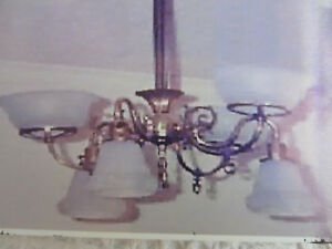 Antique Brass Gasolier Chandelier With 6 Glass Shades 3 Up 3 Down Converted 18