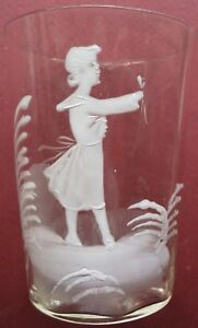 Rare 19thc Antique Fine Flint Glass Mary Gregory Water Ribbed Tumbler American
