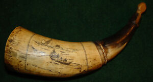 Dated Identified Whaling Ship Factor 1845 Carved Powder Horn Cow Horn