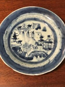 Antique Chinese Export Canton Blue And White Underglaze Plate