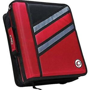 Case it the Z 1 5 inch D 3 ring Zipper Binder Red z 176 red