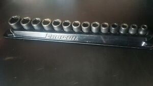 Snap On 3 8 Drive Shallow Impact Socket Set 14 Piece Used